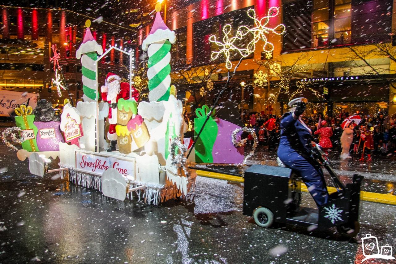 Seattle Bellevue Christmas Parade Snow Flake Lane